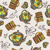 Seamless pattern with teapot and cup Stock Photos