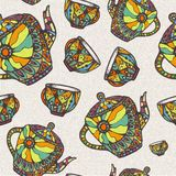 Seamless pattern with teapot and cup Stock Images
