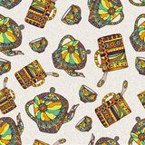 Seamless pattern with teapot and cup Royalty Free Stock Images