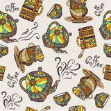 Seamless pattern with teapot and cup Stock Image
