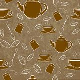 Seamless Pattern With Teapot And Cups On A Brown Background. EPS 10 stock illustration