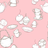 Seamless pattern with teapot, cups and cake on pink background Royalty Free Stock Images