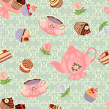 Seamless pattern with teapot, cups, cakes and roses. Royalty Free Stock Image