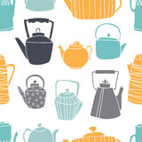 Seamless pattern with teapots stock illustration