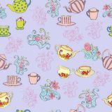 Seamless pattern with teapots and cups. Decorative background with illustration of teapot and cups vector illustration