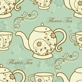 Seamless pattern with teapots and cups Stock Photo