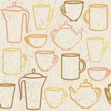 Seamless pattern with teapots and cups silhouettes Stock Photos
