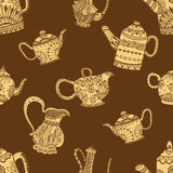 Seamless pattern of Teapots. And jugs. Vector illustration. Hand drawn art made of flowers and Leaves Royalty Free Stock Images