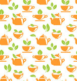 Seamless Pattern with Teapots and Teacups Royalty Free Stock Image