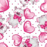Seamless pattern with Teddy Bear and balloons