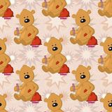 Seamless pattern, teddy bear with Christmas bag Royalty Free Stock Photos