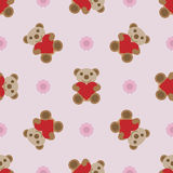 Seamless pattern with teddy bear and heart toy. Seamless pattern with brown teddy bear and heart toy. Vector illustration Royalty Free Stock Photography