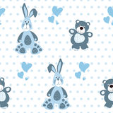 Seamless pattern with teddy bear and a rabbit Stock Photo