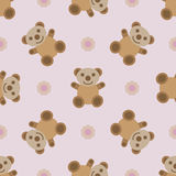 Seamless pattern with teddy bear toy. Seamless pattern with teddy bear toy and flowers. Vector illustration Stock Image