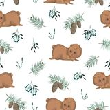 Seamless pattern with teddy bear, tree branches, berries, cones and spruce. Cute cartoon characters. Hand drawn vector illustration in watercolor style Royalty Free Stock Photo