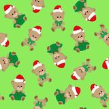 Seamless pattern with teddy bears, cute Christmas cartoon style, children holiday vector, for kids textile fabric, wrapping paper. stock illustration