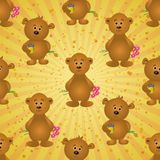 Seamless pattern, teddy bears and gifts Stock Photo
