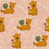 Seamless pattern, teddy bears and gifts flowers Royalty Free Stock Images
