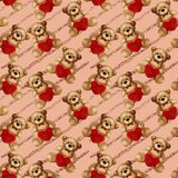 Seamless Pattern - Teddy bears on glitter stripes. Valentine`s Day background Royalty Free Stock Images