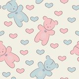 Seamless pattern with teddy bears and hearts. Royalty Free Stock Photo