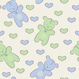 Seamless pattern with teddy bears and hearts. vector illustration