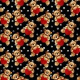 Seamless Pattern - Teddy bears on silver dots. Valentine`s Day background Stock Image