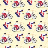 Seamless Pattern of Teens Bicycle, Skateboarding royalty free illustration