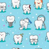 Teeth background .Seamless pattern with teeth. Vector baby illustration. Dental cute pattern. Fabric design for vector illustration
