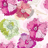 Seamless pattern with tender flowers and birds Royalty Free Stock Photo