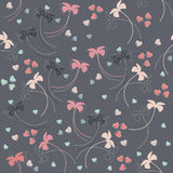 Seamless pattern with tender flowers and hearts Stock Images