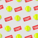 Seamless pattern with tennis ball and stickers summer sport. Flat style. Vector background Royalty Free Stock Photo