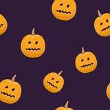 Seamless Pattern of Terrible Scary Pumpkin Stock Photos
