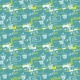 Seamless pattern of textile equipment and circuitry for CCTV Stock Photos