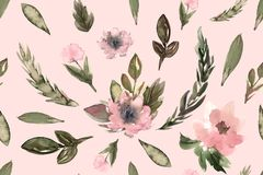 Seamless pattern for textile, fashion, flowers watercolor stock illustration