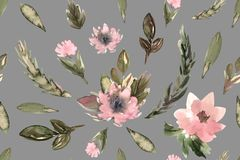 Seamless pattern for textile, fashion, flowers watercolor royalty free illustration