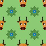 Seamless pattern for textiles with cows and flowers on a light, green background. Vector illustration in flat style stock illustration