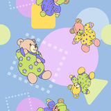 Seamless pattern for textiles. Pattern for textiles with toy bears and geometric figures vector illustration