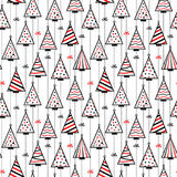 Seamless Pattern Texture Background with stylized christmas trees Stock Photos