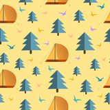 Pattern texture with birds, tree and camping tent design vector illustration, travel style. Seamless Pattern texture with birds, tree and camping tent on Stock Illustration