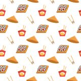 Seamless pattern texture with sushi, ramen noodles and chopsticks. Vector textile, wrapping, wallpaper, background for. Asian food restaurant menu vector illustration
