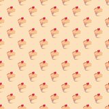 Seamless pattern or texture with sweet cupcakes. Seamless vector pattern or texture with cupcake, muffin, sweet cake and red heart on top. Background with sweets Royalty Free Stock Images
