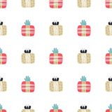 Seamless pattern with textured gift boxes. Hand drawn elements. Background with holiday design. Freehand style. Doodle. Wallpaper, textiles, wrapping, card royalty free illustration