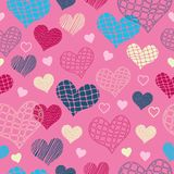 Seamless pattern with textured hearts. For textiles, interior design, for book design, website background Royalty Free Stock Photo
