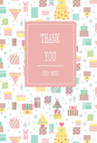 Seamless pattern with thank you lettering for greeting card Stock Photos