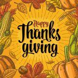 Seamless pattern for Thanksgiving Day. Vintage engraving Royalty Free Stock Photo