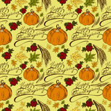 Seamless pattern Thanksgiving Day. Seamless pattern with the words Happy Thanksgiving, maple leaves, pumpkin, cranberries, wheat ears Royalty Free Stock Photography