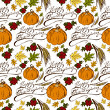 Seamless pattern Thanksgiving Day. Seamless pattern with the words Happy Thanksgiving, maple leaves, pumpkin, cranberries, wheat ears Royalty Free Stock Photos