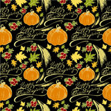 Seamless pattern Thanksgiving Day. Seamless pattern with the words Happy Thanksgiving, maple leaves, pumpkin, cranberries, wheat ears Stock Images