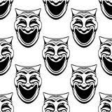 Seamless pattern with theater comedy masks Royalty Free Stock Image
