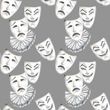 Seamless pattern with theater masks of laughter and sadness emotions. Hand drawn on a gray background Royalty Free Stock Photography